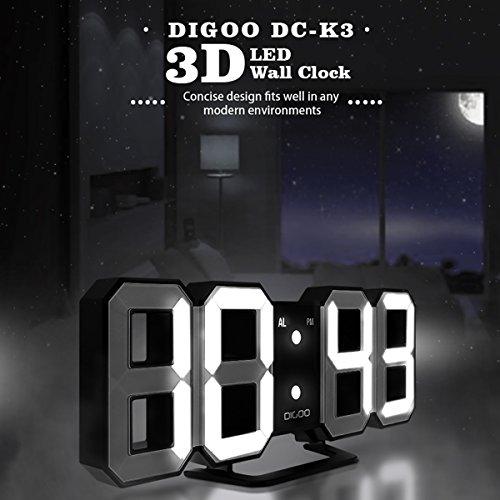 Reloj de alarma digital de pared 3D LED, DIGOO DC-K3 Reloj de alarma digital multifunción con 3 luminosidad ajustable, Función de despertador Pantalla de 12/24 hora de dormitorio, Sala de estar Normal