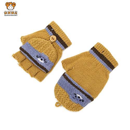 LybGloves Kinder Stricken warme Handschuhe Winter Männer und Frauen Kinder Baby Kind Fünf-Finger-Cartoon halbe Finger Handschuhe, empfohlen über 2-6 Jahre alt, Kurkuma