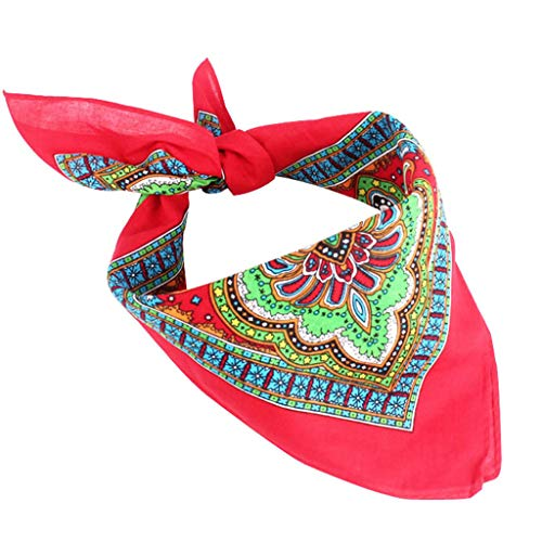 JERKKY 55x55CM Frauen Baumwolle Square Neck Schal Ethnic Floral Printed Hip-Hop-Armband Leistung Outdoor Head Wraps Bandana Red Paisley Vintage Mantel