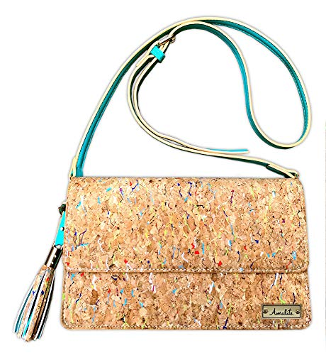 Amalite Vegan Handbag, Cork Crossbody Clutch Bag with Removable Strap