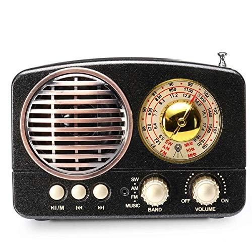 CYYX Mini Tragbarer Retro-Radio-Handempfänger AM FM SW + Bluetooth-Lautsprecher AUX USB TF MP3-Telefon Multimedia Hi-Fi Stereo Hansfree Headset-Unterstützung FM AM,Black - Am / Fm-radio-headset
