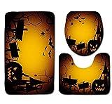 OverDose Damen Halloween Schwarze Katze WC Sitzbezug und Teppich Badezimmer Set Überraschung Halloween Dekor