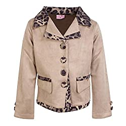 Cutecumber Girls Suede Embellished Beige Coat. 2291A-BEIGE-36