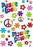 Magstick Set Adesivi Flower-Power I kfz_262 I Peace And Love Colorati I Arco Dimensione DIN A4 I Sticker per Bicicletta Notebook Laptop Cellulare Auto Adesivo Resistente agli Agenti atmosferici