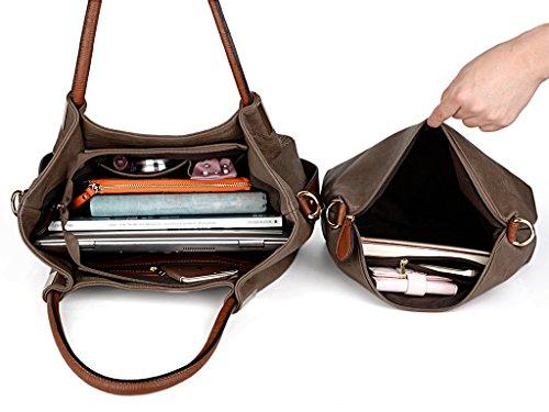 UTO Borsa SET per la borsa Messenger in pelle Donna 3 Pezzi Borse Pelle Sintetico PU borsa a Spalla Cachi