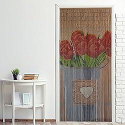 Power-Preise24 Cortina para puerta de bambú ''Nature'' 90 x 200 cm para colgar- Cortina persiana divisoria colorida a ambos lados con 90 hilos con piezas de bambú, Motivo:Tulipán