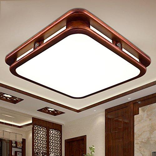 GYD LED chinesischen Massivholz Wohnzimmer Schlafzimmer Quadrat Nachahmung Marmor klassischen Holz Deckenleuchten (Carry The Light Source) (größe : 75 * 53) -