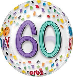 Amscan International 3517201 - Globo de Papel de Aluminio, diseño con Texto en inglés Happy 60th Birthday Rainb