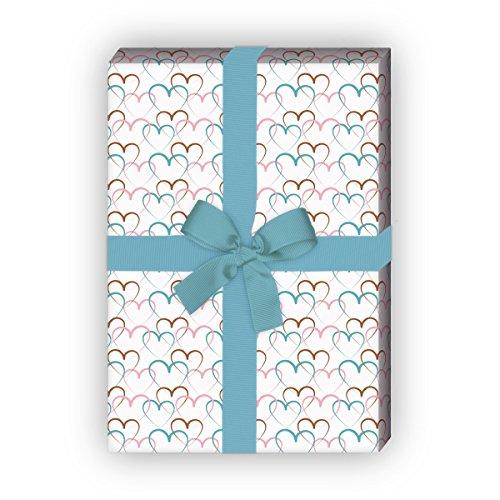 Herz Geschenkpapier Set (4 Bogen) | Dekorpapier für Liebende und Verliebte für tolle Geschenk Verpackung zur Taufe, Geburt, Ostern, Geburtstag, Hochzeit, Weihnachten u.v.m. 32 x 48cm, auf weiß (Camouflage Herz)