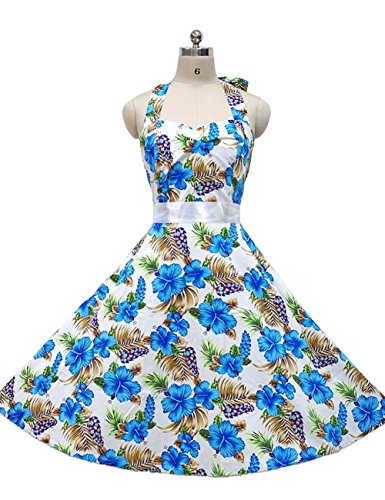 VKStar® Vintage Damen Rockabilly 50er Aufdrucke Neckholder Schwingen Kleid Party Picknick Cocktailkleid Tropical white wind