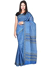 Panvi Kota Cotton Saree(P-20_Hand Block Printed MorningBlue_Free Size)