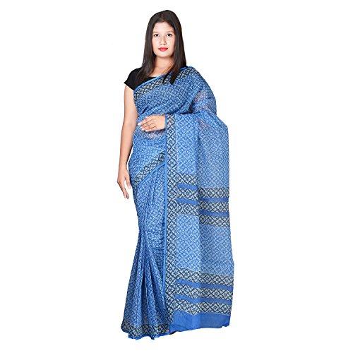Panvi Kota Doria Cotton Silk Morning Blue Saree (P-20_Hand Block Printed MorningBlue_Free...