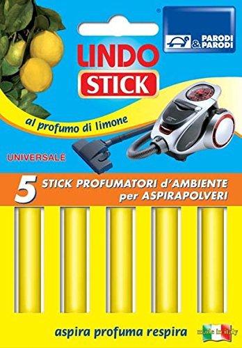 Parodi&Parodi Lindo Stick Deodorante Aspirapolvere Limone 5 Pezzi, Tessuto, Giallo, 11x17x1 cm, 5 unità
