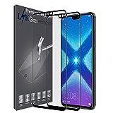 LK Protection écran Huawei Honor 8X, [2 Pièces] [Couverture complète] Verre Trempé [Garantie de Remplacement à Durée de Vie] Screen Protector Film - Noir