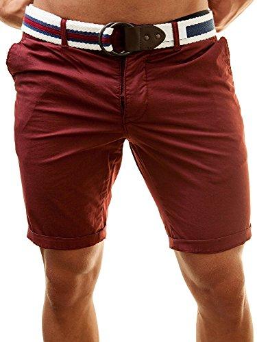 JetLag Herren Slim Fit Chino Shorts Rot