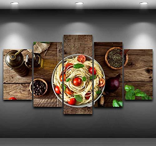Italienische Küche Pasta Olivenöl Knoblauch Gemälde Küche Dekorative 5 Stücke Modulare Wandbilder Für Wohnzimmer -