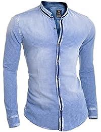 casual jean Slim Fit Chemise manches de Red Bridge Hommes de créateurs pour mettre fin à long cou