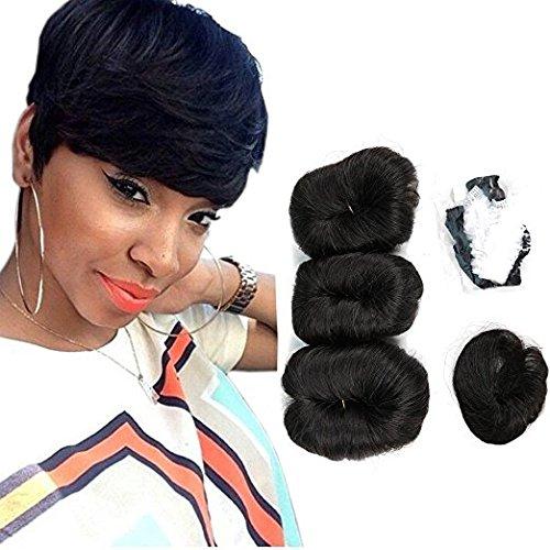 100% cheveux humains brésiliens vierges Cheveux courts Extensions Tissage 3 pcs Chaise longue transat Bresilienne 27 pièces + 1 gratuit Fermeture Couleur 99j#