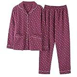 moxin Damen Reine Baumwolle Langarm Nachtwäsche Nachtwäsche Pyjama Set, M, C