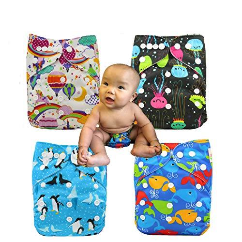 ohbabyka Wiederverwendbare Unisex Baby Tuch Pocket Windeln All in One mit 1?weichen Tuch inneren