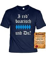 T-Shirt ,Funshirt, Motiv - Sprüche Shirt und Spaßurkunde Geschenke Set für Bayern, i red boarisch und Du