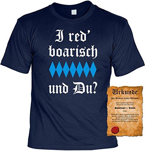 Witziges Spaß-Shirt + gratis Fun-Urkunde: I red boarisch und Du? Navyblau