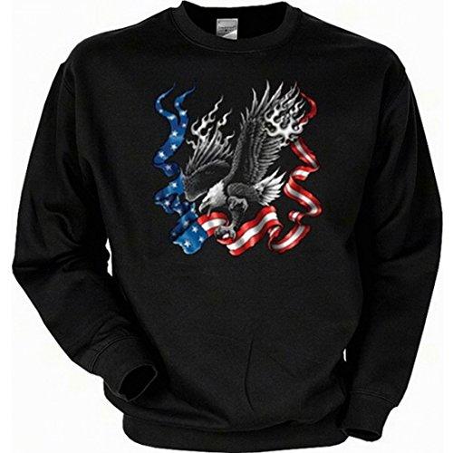 Sweatshirt mit Motiv - Adler mit Stars and Stripes - USA Sweater Amerika, Größe:XL