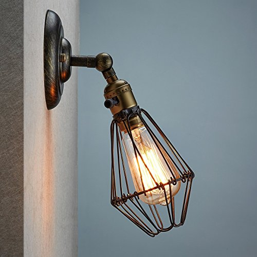 CLAXY Wandleuchte E27 Wandlampe Industrie Draht Korb Cage Käfig mit Schalter (ohne Bulb) (Antik-draht-körbe)