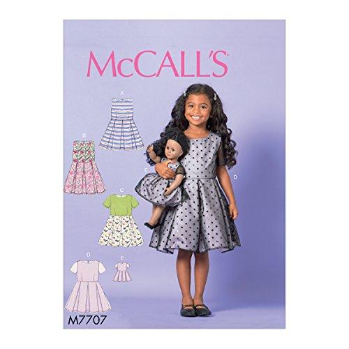McCall' s Patterns cartamodello per Vestito da Bambina/Ragazza Bambola, 45,7cm, Tessuto, Multicolore, 17x 0.5x 0.07cm
