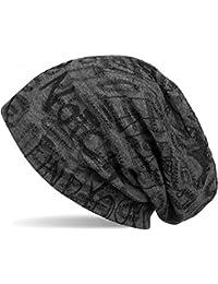 styleBREAKER Beanie Mütze mit Schrift Muster im Destroyed Vintage Design, Slouch Longbeanie, Unisex 04024074