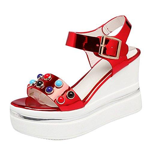 Mee Shoes Damen Keilabsatz Slingback Schnalle Sandalen Rot