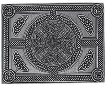 Stunning Cast Pewter Celtic Cross Kilt Trews Belt Buckle - Made In Scotland