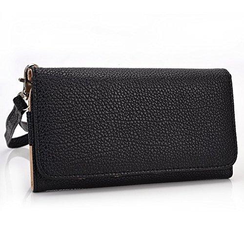 Kroo, la poche case Wallet Wristlet cuir Convient pour Microsoft Lumia 535/535Dual SIM bleu/rouge noir