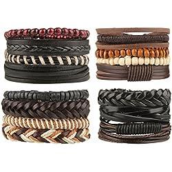 Beauty7 16 Pcs Pulseras Étnico Retro de Cuero Trenzadas Pulseras de Cuentas del Correa del Trenzado Brazalete Ajustable para Hombres Mujeres Leather Wristbands