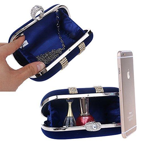 Frauen Abend Kupplung Tasche, Luxus Crystal Reshione Samt Handtasche Brieftasche Handtasche für Party Hochzeit Cocktail Abschlussball Umhängetasche schwarz