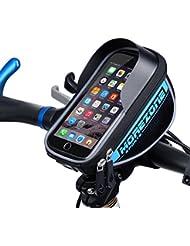 MOREZONE Sacoche de cadre vélo pour Smartphone Guidon vtt Sacoche résistante à l'eau Téléphone sous 5.5 pouces top sac de tube(Bleu, 5.5 pouces)