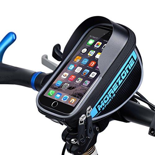 MOREZONE Farhradlenkertasche Telefonhalter Handy Fahrradtasche Smartphone Lenker Lenkertaschen mit Größe unten 5.5 inch (Blau)