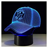 3D Illusion Nachtlichter, MLB Baseball Boston Red Sox Moderne LED Tisch Schreibtischlampen 7 Farben Ändern Touch-Schalter USB-Lade Beleuchtung Schlafzimmer Home Dekorative Lampe