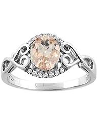 Revoni 14ct oro colgantes Natural Oval 8 x 6 mm anillo de diamante y acentos del corazón