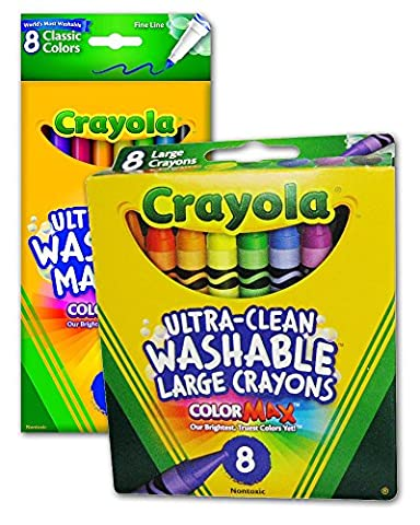 Crayola Ultra-Clean Washable Large Crayons 8 Pieces 2-Pack + Ultra-Clean Washable Fine Line Markers 8-Pack - Non-Toxic - Coloring Bundle Pack