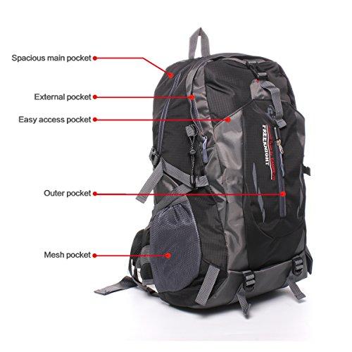 Geila Outdoor Sport impermeabile 40L Escursionismo campeggio Daypack Deposito zaino (Army Green) nero