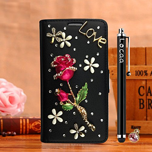 Locaa(TM) For Huawei Ascend Y625 HuaweiY625 3D Bling Rose Case + Griffel + Dust plug Luxus Perlen Diamant niedlich Schöne Wallet Protection Hülle [Rose Serie] Schwarzes Holster - Scarlet Rose