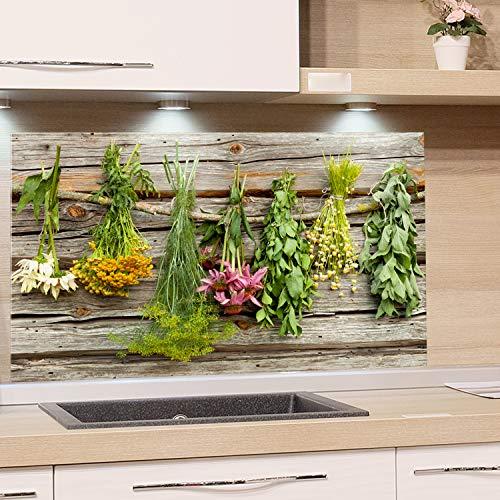 GRAZDesign Spritzschutz Glas für Küche Herd, Bild-Motiv Küchenkräuter, Küchenrückwand Küchenspiegel Glasrückwand / 80x40cm