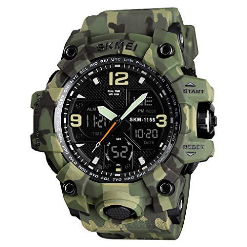 YEARNLY Herren Sportuhr Analog-Digital LED Military Armbanduhr 50M wasserdichte Sportuhr Edelstahl Shock Resistant Casual Uhr