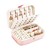 Rucae Personalised Travel Jewellery Box Organiser-PU Leather Jewellery Travel Case,Small,Kids,Girls,Jewellery Box for Women,Rings,Earrings,Necklace Organizer Jewellery Storage Boxes-Pink