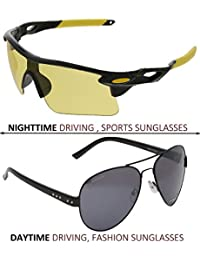 Vast Combo Of 2 All Day And Night Vision Biking, Driving And Sports Unisex Sunglasses (BLKYELLOW,BLK)