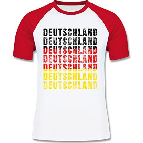 EM 2016 - Frankreich - Deutschland Grunge Typo - zweifarbiges Baseballshirt für Männer Weiß/Rot