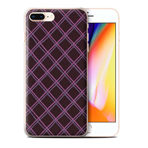 Stuff4 Hülle / Case für Apple iPhone 8 Plus / Blau/lila Muster / Kreuz Muster Kollektion Lila/Schwarz