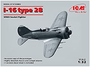 ICM 32002 I-16 Type 28 WWII Soviet Fighter - Maqueta de Barco, Color Gris
