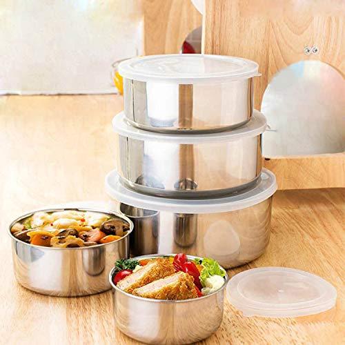 Contenitori per alimenti (5pcs) - ciotole di miscelazione con coperchio - ciotola in acciaio inox - ecologici per bambini per merenda a scuola e adulti per il pranzo al sacco in ufficio